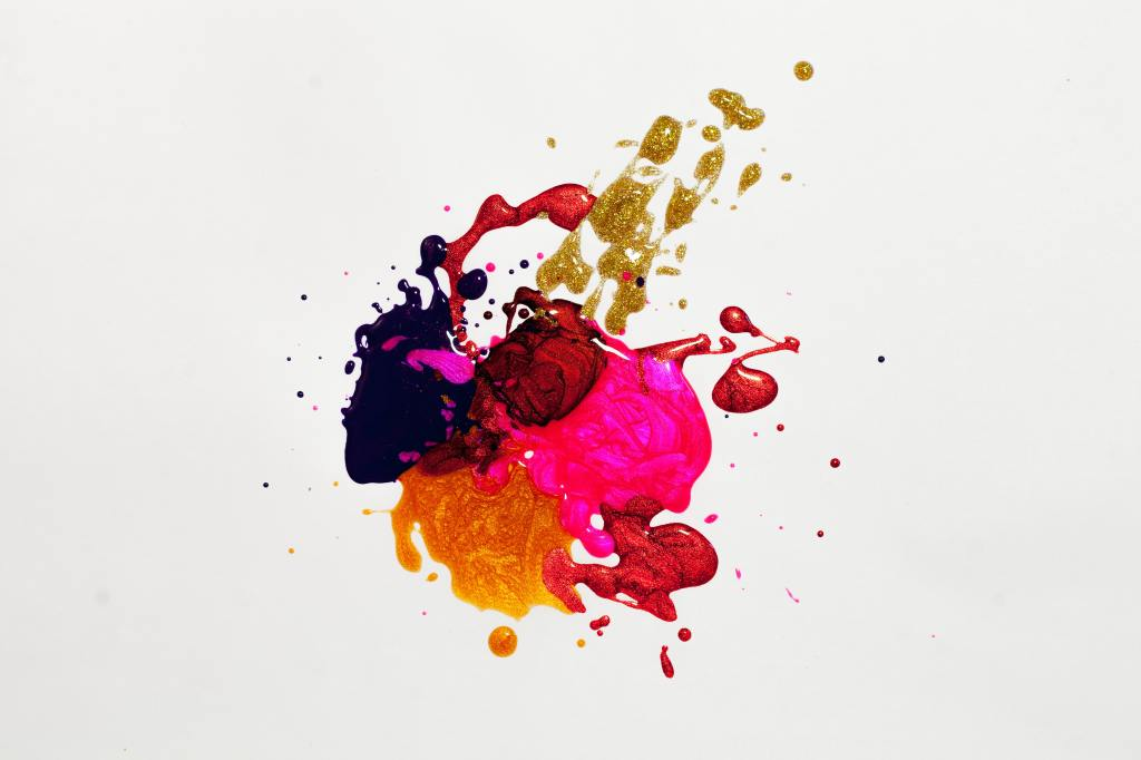 abstract colors splattered on white background