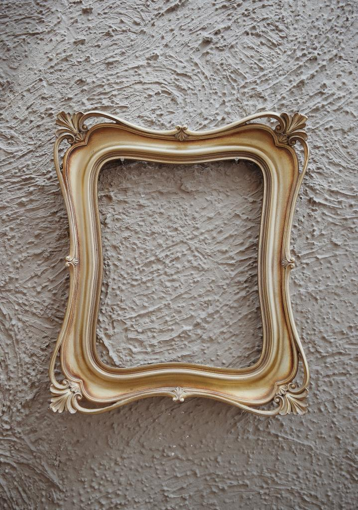 wooden frame on stucco background